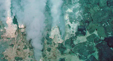 Minerals and carbon dioxide escape from the Earth's crust into an ocean at this deep-sea vent. NOAA