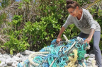 marine debris washed up on beach, Cook Islands