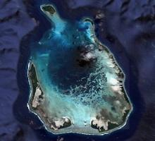 Satellite image of Cocos (Keeling) Islands. Image credit: Maxar Technologies