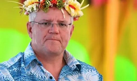 Australia's prime minister Scott Morrison arrives for last year's Pacific Islands Forum in Tuvalu. Regional leaders are urging him to do more to counter the climate crisis. Photograph: Mick Tsikas/AAP